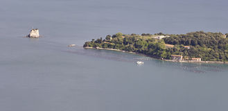 aerialview des palmaria Inselnehmens von muzzerone Berg Stockfotografie