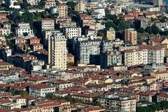 Aerialview of la spezia from a hill. In a sunny day stock photography