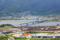 Aerial view of sawmill area in Namsos, Norway. The view of the river Nmasen and industrial sawmill area in Namsos, Norway Royalty Free Stock Image