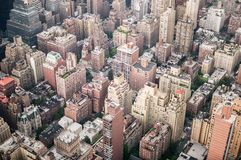 Aeriel shot of New York City buildings. In Manhatten Stock Image