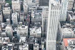 Aeriel shot of New York City buildings. In Manhatten Stock Photography