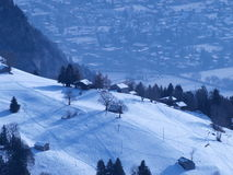 Aeriel view of chalets in Switzerland Royalty Free Stock Photo