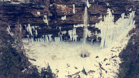 Aeriel view of frozen waterfall. Stock Photos