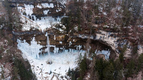 Aeriel view of frozen waterfall. Royalty Free Stock Photos