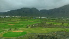 Aeriel view of a golf course stock footage