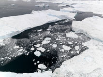 Aeriel view of the huge icebergs in Greenland stock photos