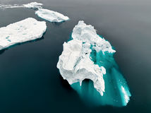 Aeriel view of the huge icebergs in Greenland Royalty Free Stock Image
