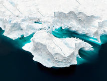 Aeriel view of the huge icebergs in Greenland Stock Photography