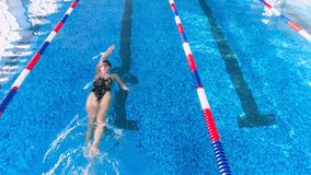 Aerila shot of a swimmer in a swimming pool. 4K stock video footage