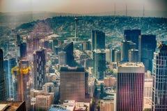 Aerila sikt av Seattle horisont Arkivbild