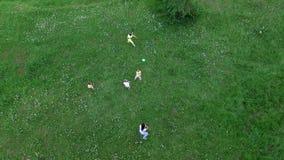Aero, τηλεοπτικός πυροβολισμός άνωθεν Τα παιδιά μαζί με τις μητέρες τους παίζουν με τη σφαίρα στο chamomile λιβάδι απόθεμα βίντεο