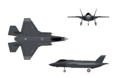 159 aero alca l Изображения реактивного истребителя Самолет 3 взглядов иллюстрация вектора