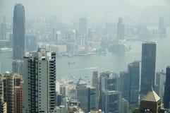 Aero Ansicht von Wolkenkratzern Hong Kong Stockfotografie