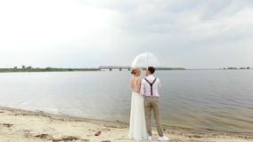Aero, beautiful newlyweds standing on the beach, under a transparent umbrella, against the blue sky, river, and a large. Bridge over the river. spring sunny and stock video footage
