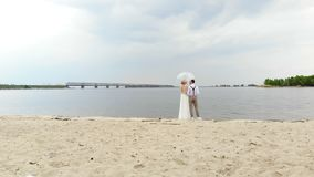 Aero, beautiful newlyweds standing on the beach, under a transparent umbrella, against the blue sky, river, and a large. Bridge over the river. spring sunny and stock footage