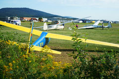 Aero-Club field and motor gliders in Germany Stock Photo