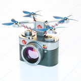 Aero drone with vintage photocamera Royalty Free Stock Images