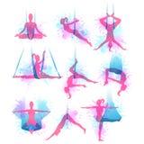 Aero- iconos de la acuarela de la yoga Ilustración del vector Imagenes de archivo