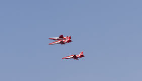 Aero India Show. Fighter jet doing aerobatic manoeuvres during the recently concluded Aero show in India stock image