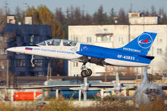 Aero L-39C Albatros of Roscosmos taking off at Chkalovsky. CHKALOVSKY, MOSCOW REGION, RUSSIA - OCTOBER 26, 2013: Aero L-39C Albatros of Roscosmos taking off at Stock Image
