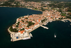 Aero panoramic photo of Porec peninsula. Aero panoramic bird eye view photo of Porec,Croatia royalty free stock image