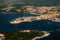 Aero panoramic photo of Porec peninsula. Aero panoramic bird eye view photo of Porec, Croatia royalty free stock photos