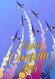 Aero przedstawienie szczęśliwy Canada dzień Wektorowy ilustracyjny plakat Samoloty i tekst Obrazy Royalty Free