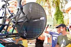 Aero Rear Wheel Of Chris Froome's time trial bike. The rear wheel of the time trial bike of Chris Froome. Taken at the Time Trial stage of the 2016 La Vuelts de Royalty Free Stock Photo