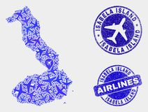 Aero sammansättningsvektor Isabela Island av Galapagos översikts- och Grungeskyddsremsor vektor illustrationer