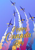 Aero show. Happy Canada day. Vector illustration poster. Airplanes and text. `Happy Canada day Royalty Free Stock Images