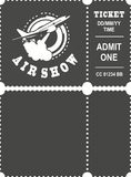 Aero show ticket. Vector illustration ticket countermark for aviation show simple black and white Stock Photos