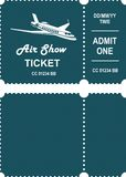 Aero show ticket. Vector illustration ticket countermark for aviation show simple black and white Royalty Free Stock Images