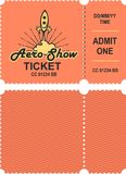 Aero show ticket. Vector illustration of a ticket countermark to visit an aviation festival festival show with a detachable coupon Stock Photography