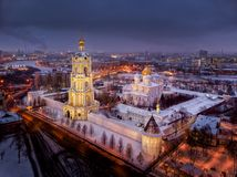Aero view Novospassky monastery in Moscow in winter stock images