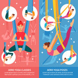 Aero Yoga Banner Set. Two vertical aero yoga banner or bookmark set with women in training and titles aero yoga classes and aero yoga poses vector illustration Stock Photos