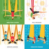 Aero Yoga Design Concept. Four square icon set with themes aero yoga classes feel freedom group lessons and come with friends vector illustration Stock Images