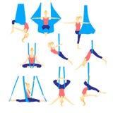 Aero yoga flat icons. Vector illustration. Stock Photos