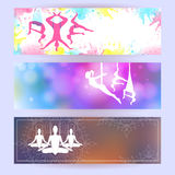 Aero yoga horizontal banners. Vector illustration. Aero yoga horizontal banners. Flyer design. Background with silhouette of woman. Vector illustration Stock Images