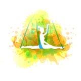 Aero yoga illustration. Vector watercolor. Stock Photo