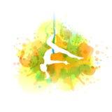 Aero yoga illustration. Vector watercolor. Royalty Free Stock Images
