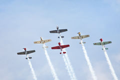 Aerobatic airplanes at airshow Royalty Free Stock Photography