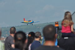 Aerobatic airplanes flying during an air show in Cluj Napoca, Romania Royalty Free Stock Image