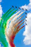 Aerobatic demonstration team Frecce Tricolori airshow. The Italian aerobatic demonstration team Frecce Tricolori performing with their MB339 jet aircraft at the royalty free stock image