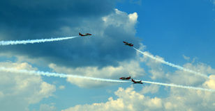 Aerobatic Demonstrationsteam Patrulla Aquila Stockbilder