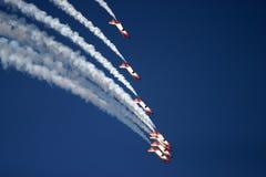 Aerobatic display at RAF Fairford air tattoo. Jets smoke blue Stock Photography