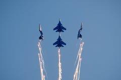 Free Aerobatic Display Team Russian Knights Stock Photo - 97674400