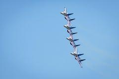 Aerobatic display team Russian Knights at MAKS-2017 Royalty Free Stock Photos