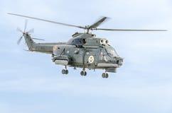 Aerobatic elicopter steuert Training im Himmel der Stadt Puma elicopter, Marineübung Aeroshow Stockfoto