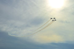 Aerobatic flight. The aerobatics flight,team ,physical culture,alarmingly dangerous Royalty Free Stock Images