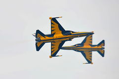 Aerobatic flying display by Black Eagles from the Republic of Korean Air Force (ROKAF) at Singapore Airshow Royalty Free Stock Image